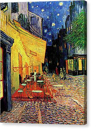 Husband Canvas Print - Van Gogh Cafe Terrace Place Du Forum At Night by Vincent Van Gogh