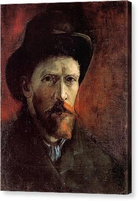 Van Gogh Self Portrait Dark Felt Hat Canvas Print by Vincent Van Gogh