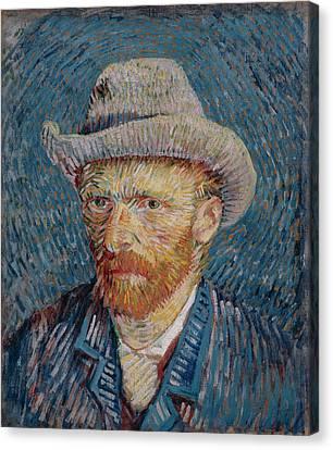 Van Gogh Self Portrait Grey Felt Hat Canvas Print by Vincent Van Gogh
