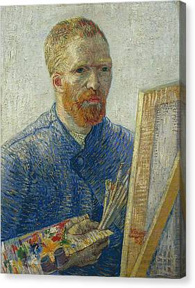 Van Gogh Self Portrait In Front Of Easel Canvas Print by Vincent Van Gogh
