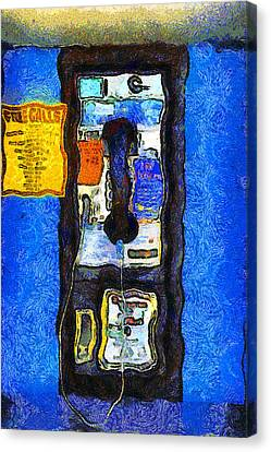 Van Gogh.s Pay Phone . 7d15934 Canvas Print by Wingsdomain Art and Photography