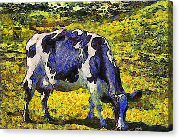 Van Gogh.s Starry Blue Cow . 7d16140 Canvas Print by Wingsdomain Art and Photography