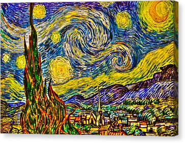 Van Gogh's 'starry Night' - Hdr Canvas Print by Randy Aveille