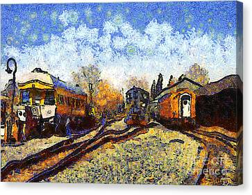 Van Gogh.s Train Station 7d11513 Canvas Print by Wingsdomain Art and Photography