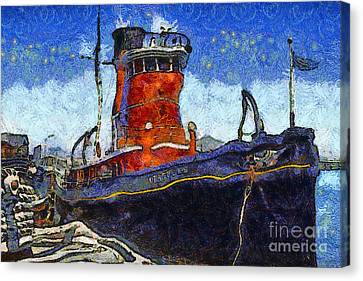 Van Gogh.s Tugboat . 7d14141 Canvas Print by Wingsdomain Art and Photography