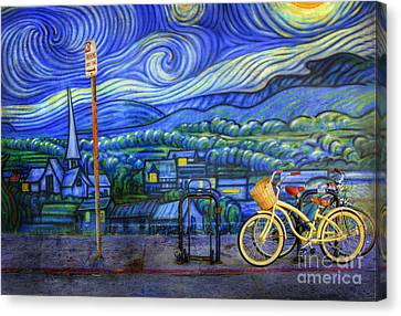 Van Gogh's Yellow And Green Bicycles Canvas Print by Craig J Satterlee