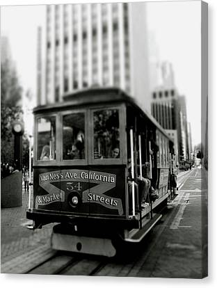 Van Ness And Market Cable Car- By Linda Woods Canvas Print