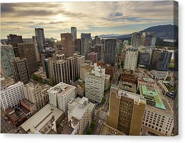 Vancouver Bc Cityscape Aerial View Canvas Print by David Gn