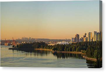 Vancouver Bc Cityscape By Stanley Park Morning View Canvas Print by David Gn