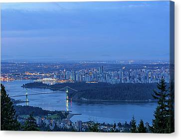 Vancouver Bc Cityscape During Blue Hour Dawn Canvas Print by David Gn