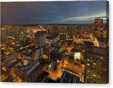 Vancouver Bc Cityscape During Evening Twilight Canvas Print by David Gn