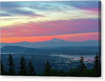 Vancouver Bc Cityscape With Cascade Range Morning View Canvas Print by David Gn