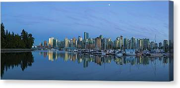 Vancouver Bc Skyline During Blue Hour Panorama Canvas Print by David Gn