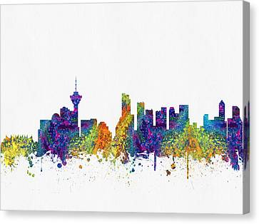 Vancouver British Columbia Skyline Color03 Canvas Print by Aged Pixel