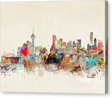Canvas Print featuring the painting Vancouver City Skyline by Bri B