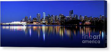 Vancouver City Skyline Panorama At Dusk Canvas Print by Terry Elniski