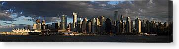 Vancouver City Sunset Panorama From Stanley Park Canvas Print by Pierre Leclerc Photography