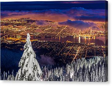 Vancouver City Twilight From Grouse Mountain Canvas Print by Pierre Leclerc Photography