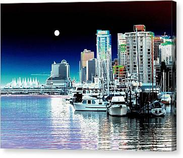Vancouver Harbor Moonrise  Canvas Print