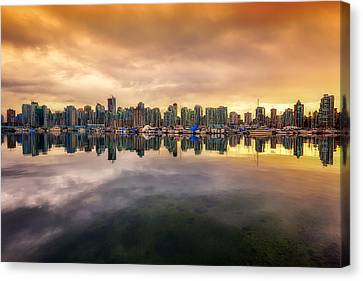 Canvas Print featuring the photograph Vancouver Reflections by Eti Reid