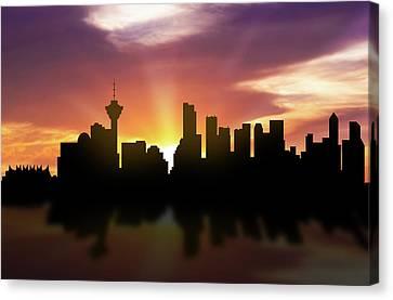 Vancouver Skyline Sunset Cabcva22 Canvas Print by Aged Pixel