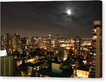 Vancouver At Night Canvas Print - Vancouver State Of Mind by Angie Wingerd