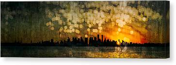 Vancouver Sunset Skyline Canvas Print by Peter v Quenter