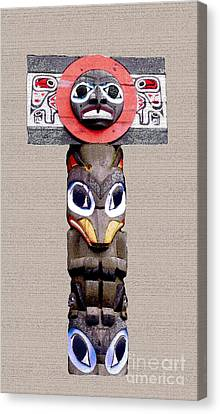 Vancouver Totem - 3 Canvas Print by Linda  Parker