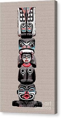Vancouver Totem - 5 Canvas Print by Linda  Parker