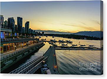Vancouver At Night Canvas Print - Vancouver Waterfront At Night by Viktor Birkus