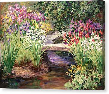 Vandusen Garden Iris Bridge Canvas Print by Laurie Hein