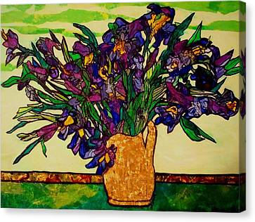 Canvas Print featuring the painting Vangogh Iris Montage by Laura  Grisham