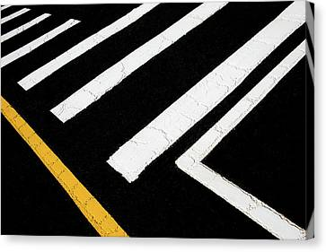 Canvas Print featuring the photograph Vanishing Traffic Lines With Colorful Edge by Gary Slawsky
