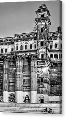 Moksha Canvas Print - Varanasi Bw by Steve Harrington