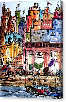 Varanasi Ghats Canvas Print by Garima Srivastava