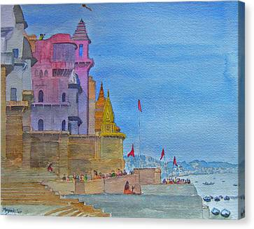 Varanasi Ghats Canvas Print by Mayank M M Reid