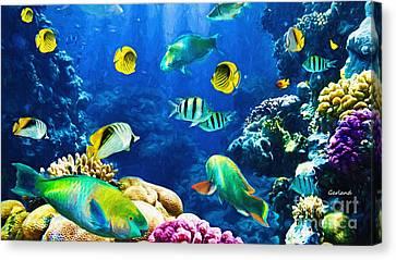 Clown Fish Canvas Print - Varieties Of Tropical Reef Fish  by Garland Johnson