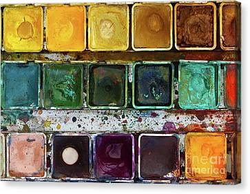 Various Watercolor Pigments In The Color-saucer Canvas Print by Michal Boubin