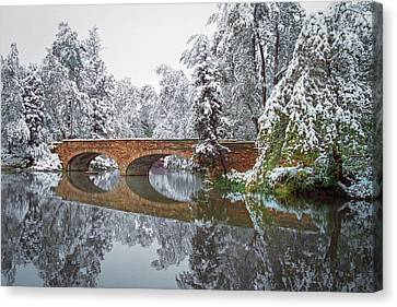 Varsity Pond Bridge Canvas Print by Lee Craker