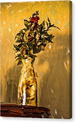 Canvas Print featuring the digital art Vase And Flowers by Dale Stillman