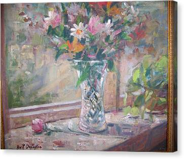 Vase And Flowers In Window Sill. Canvas Print