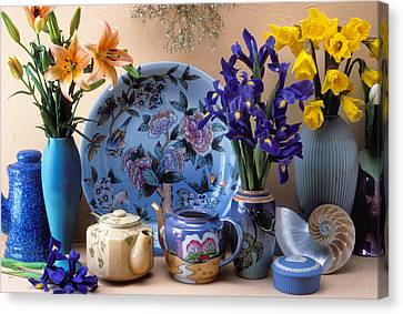 Vase And Plate Still Life Canvas Print by Garry Gay