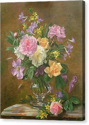 Vase Of Flowers Canvas Print by Albert Williams