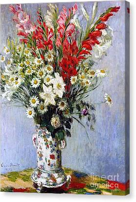 Ceramic Canvas Print - Vase Of Flowers by Claude Monet
