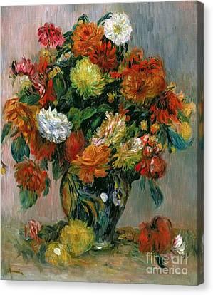 Horticultural Canvas Print - Vase Of Flowers by Pierre Auguste Renoir