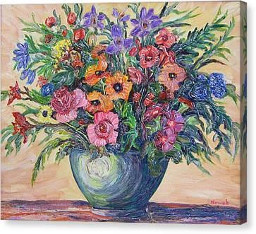 Vase Of Flowers Canvas Print by Richard Nowak