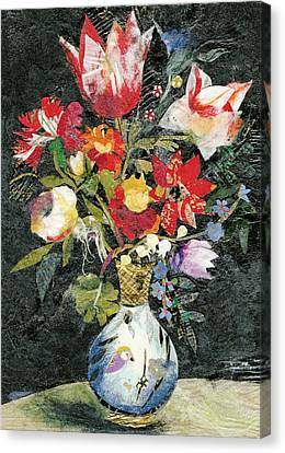 Vase With A Bird Canvas Print by Nira Schwartz
