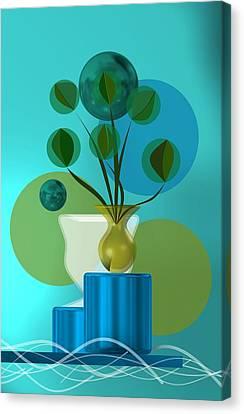Interior Still Life Canvas Print - Vase With Bouquet Over Blue by Alberto RuiZ