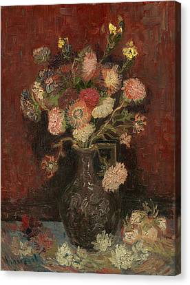 Vase With Chinese Asters And Gladioli Canvas Print