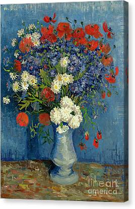 Vase With Cornflowers And Poppies Canvas Print
